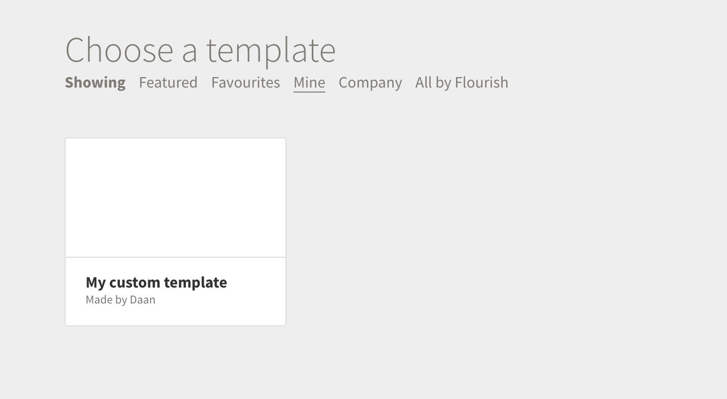 Screenshot of Flourish template chooser